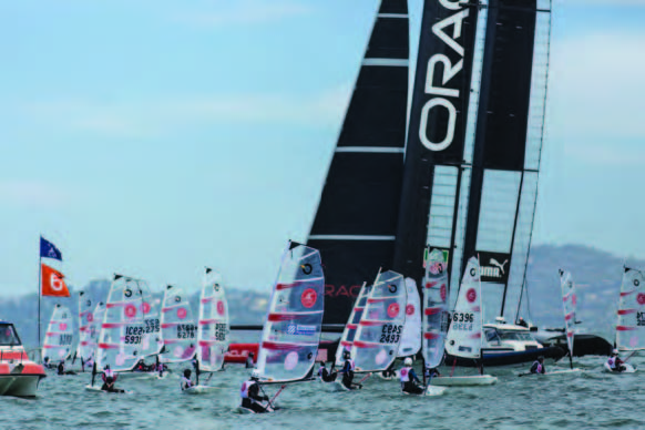 Although participants in the 2014 O'Pen BIC North American Championship won't be sharing the racecourse with ORACLE Team USA's AC72, they – and perhaps their parents – will be in Bermuda. © Onne Van der Wal/vanderwal.com