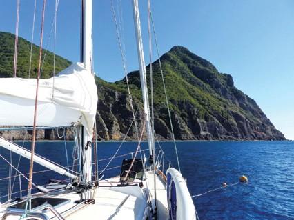 Saba Island at anchor