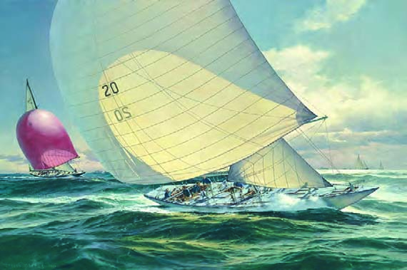 "Don Demers, America's Cup 1964, Constellation and Sovereign, Oil on Canvas, 24"" x 36"""