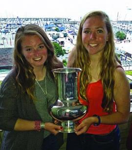 Megan Grapengeter-Rudnick & Haley Fox were the #1 Ladies team in the 158-boat I420 fleet at Kiel Week. © Janet Grapengeter