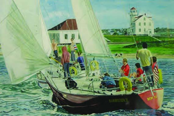 """Russell Larkin Case, Barrister II, Great Salt Pond, Watercolor on Paper, 12"""" x 16"""""""