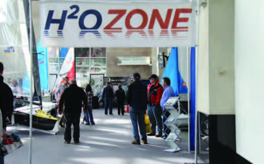 The H20 Zone, a joint effort of Zim Sailing, LaserPerformance, The Boat Locker, Sail Newport and Community Boating of Providence, was the go-to hub for small boat sailors at the Providence Boat Show. Photo courtesy of the Providence Boat Show