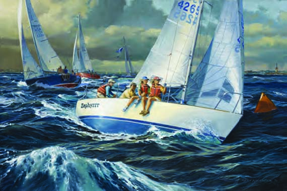 "Russ Kramer, J/24 ZEPHYRRR, Oil on Canvas, 12"" x 18"""