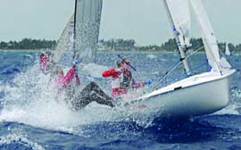 Wet 'n wild conditions on the final day of the Lauderdale Olympic Classes Regatta provided some screaming downwind runs. © John Payne/johnpaynephoto.com