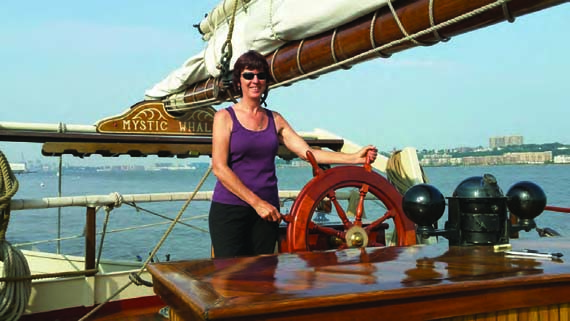 Linda Leith is a volunteer educator on the Hudson River, teaching groups of students onboard both the sloop Clearwater and the schooner Mystic Whaler (pictured). To apply for an onboard volunteer position, visitclearwater.org/education/volunteer-crew-on-the-sloop. Photo courtesy of Becky Rowland