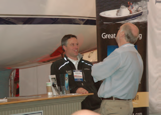 Matt Leduc (left) of Fleet Yacht Sales reports strong interest in the new line of Hunter Yachts.