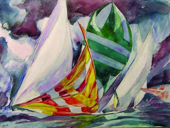 "Willard Bond, Off Manhasset, Watercolor on Canvas, 18"" x 24"""