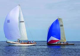 Puffin, a classic Aage Nielsen sloop, and Ginger, a Spirit of Tradition daysailer recently built by Brooklin Boat Yard, make a striking pair. © Billy Black