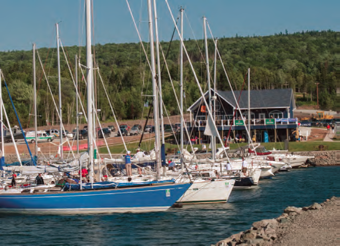 The Race the Cape fleet is hosted by yacht clubs and marinas around Cape Breton. Pictured here is Ben Eoin Marina in East Bay, the largest marina on Bras d'Or. © Shawn Dunlop