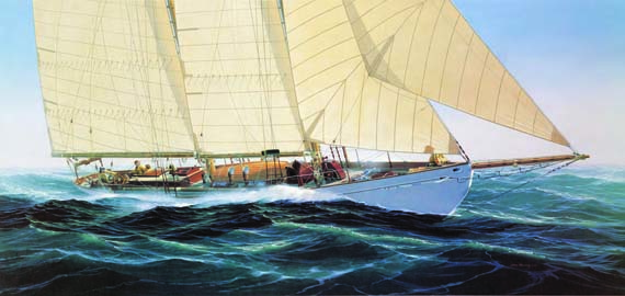 "John Mecray, Schooner Yacht Brilliant Oil on Canvas 23"" x 48"""