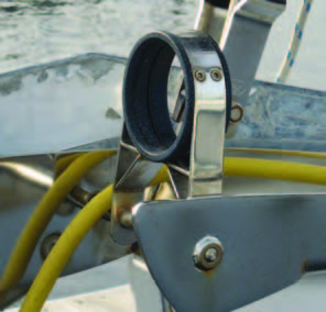 """Selden Spars is one of several hardware manufacturers who offer """"off the shelf"""" bowsprit retrofits. This version has the outboard support fastened to the unused bow roller."""
