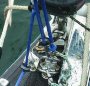 Using a snap shackle at the bitter end allows one fall of the tensioning line to be released from the bow when the stay is not required, thus reducing the length of line required by 25%.