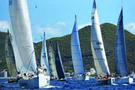 Twenty-five teams from the USA were among the 202-boat fleet in the 33rd St. Maarten Heineken Regatta. © Bob Grieser