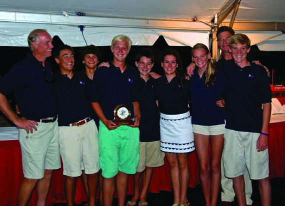 The winning team of (l – r) Peter Becker, Collin Alexander, Sam Papert, Will McKeige, Sean Walsh, Haley Rodriguez, Carina Becker, Doug McKeige and Key Becker celebrates at Stamford Yacht Club. Not pictured is Madelyn Ploch. © Rick Bannerot