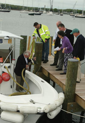 The new Stonington Harbor pumpout boat dock and emptying station were commissioned last May. © Charles Harding