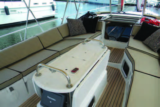 These tan cockpit cushions with dark piping are particularly attractive. © islandnautical.com
