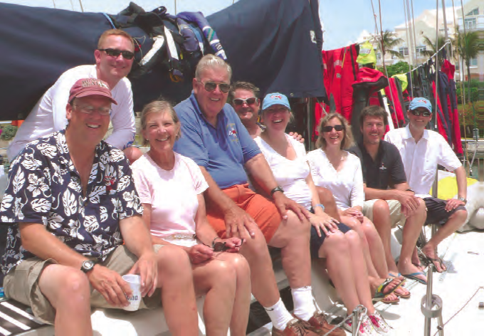 The three-generation crew of Larry Glenn's J/44 Runaway won the Family Prize in the 2010 Newport Bermuda Race. The award is given to the two top performing boats with four immediate family crewmembers aboard (one in the Cruiser Division and one in the St. David's Lighthouse Division). One of those family members must also be in the afterguard, a skipper, watch captain or navigator. © Chris Museler