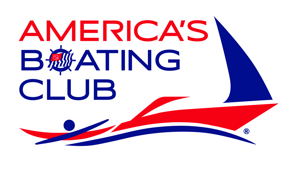 The America's Boating Club logo depicts a kayaker merging into a powerboat merging into a sailboat.