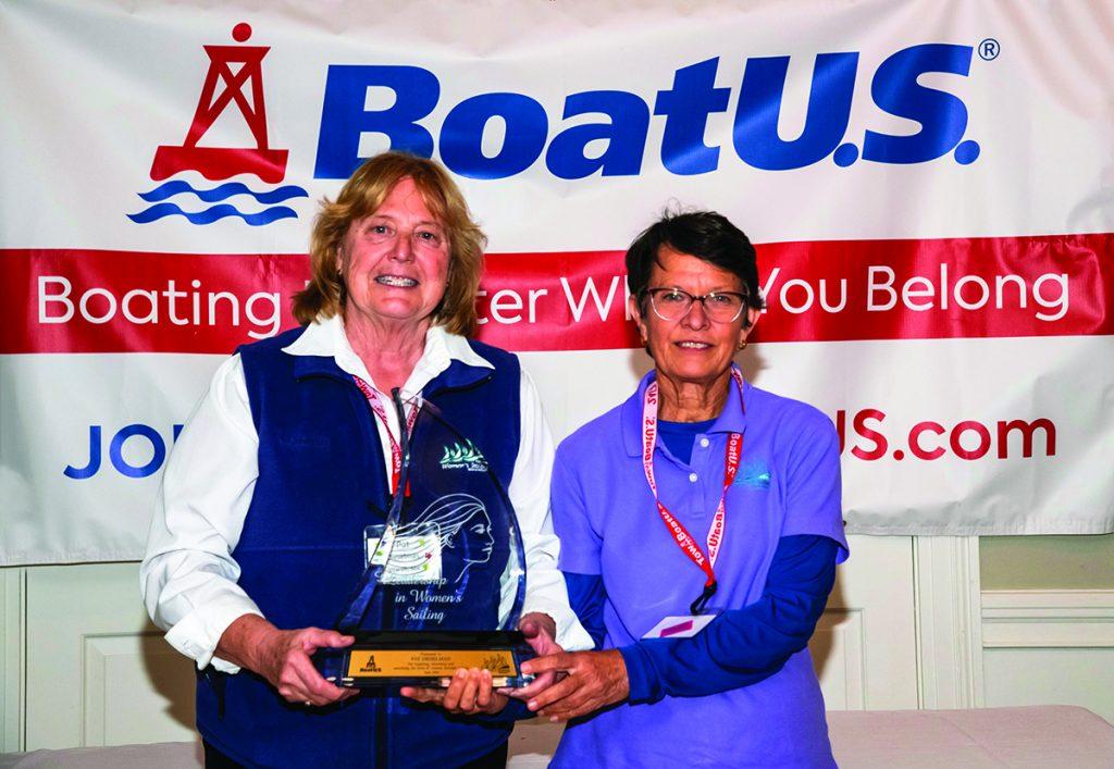 Pat Dieselman (left), 2019 BoatUS/NWSA Leadership in Women's Sailing Award honoree, with NWSA President Debbie Huntsman © Elise Read