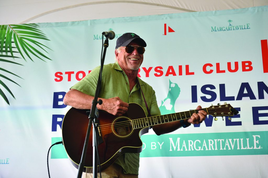 Sailors at the first edition of Block Island Race Week presented by Margaritaville were treated to a surprise performance by the King of Margaritaville, Jimmy Buffett. © Allen Clark/PhotoBoat.com