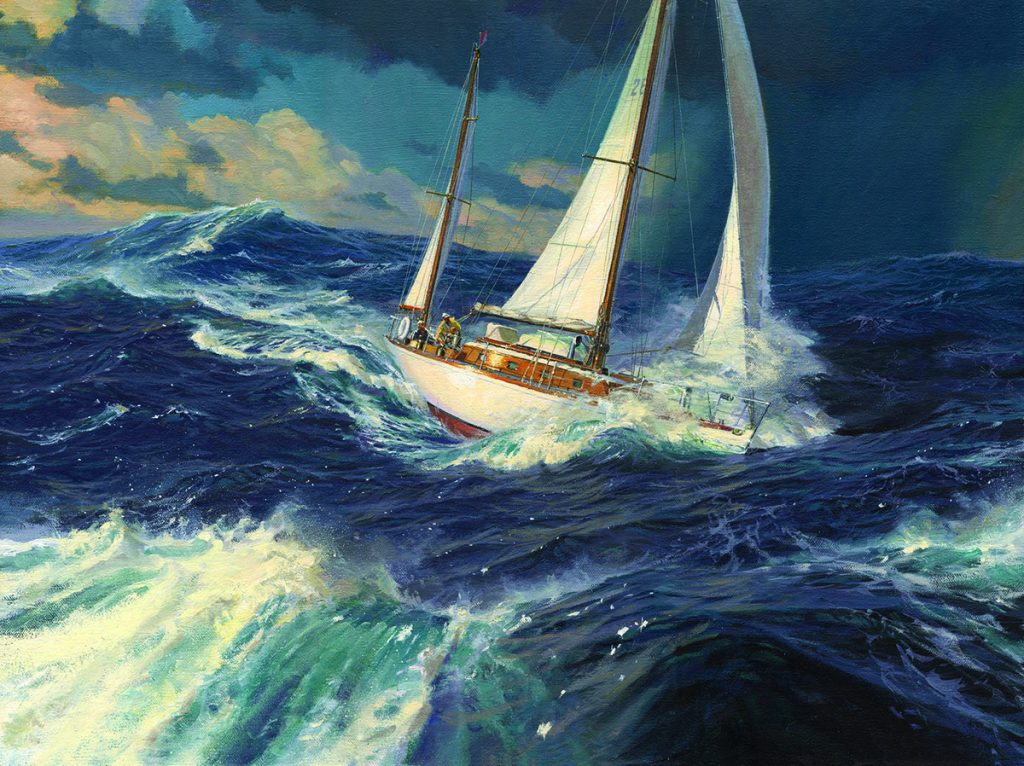 """""""Finisterre, 1956"""" – This dramatic painting by Russ Kramer depicts author, photographer and adventurer Carleton Mitchell's yacht on her way to the first of three consecutive victories in the Newport Bermuda Race. To see more of Russ' work, visitrusskramer.com."""