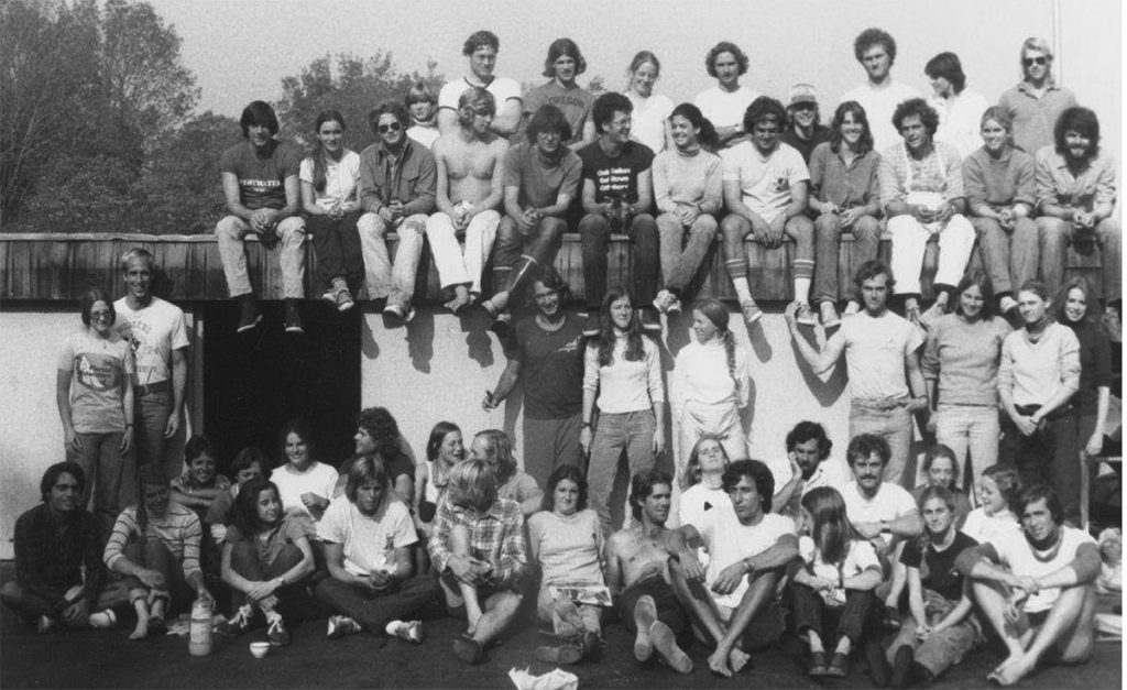 Three years in, Snow & Satisfaction was already becoming legendary. How many sailing luminaries can you spot in this photo from 1979?  Photo courtesy of YCYC