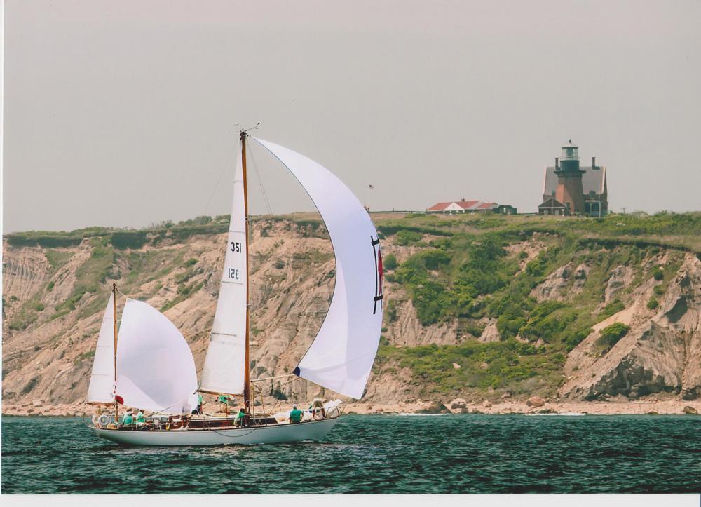 Fidelio powers past Block Island's Southeast Light. Photo courtesy of Carol Connor